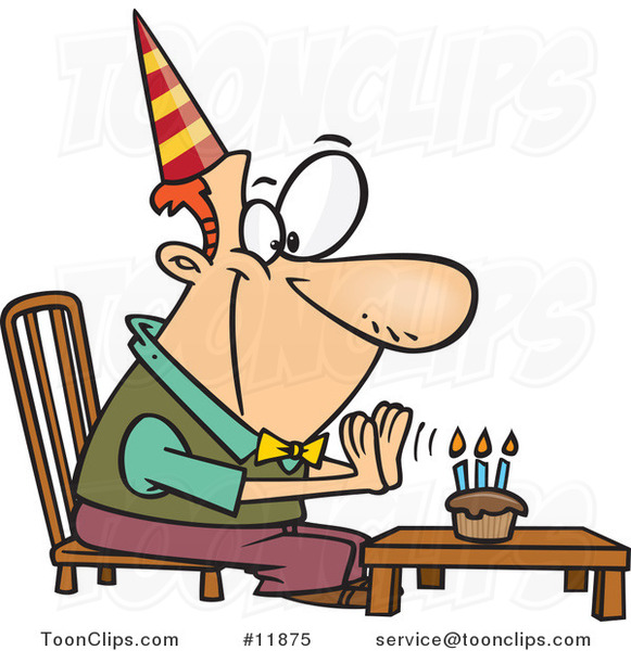 Cartoon Birthday Guy Seated Before His Cupcake