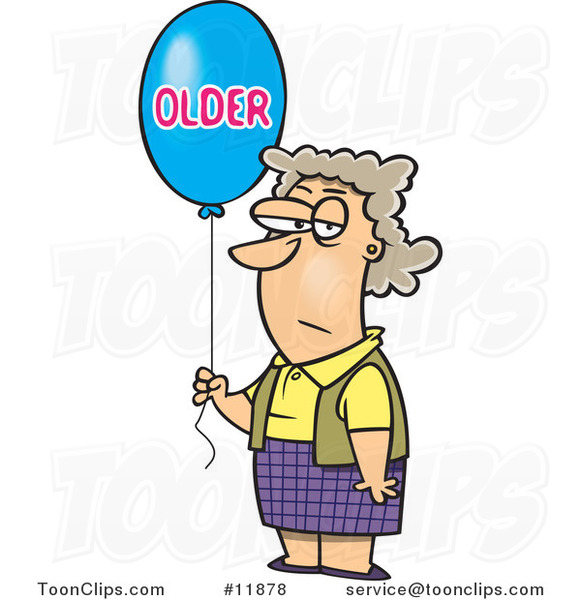Cartoon Birthday Lady with an Older Balloon