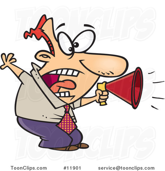 Cartoon Business Man Shouting in a Megaphone