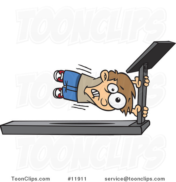 Cartoon Boy Holding onto a Treadmill Bar