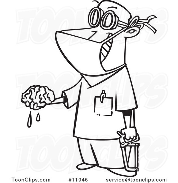 cartoon outlined surgeon holding a brain out 11946 by ron Patient Clip Art Medical Clip Art