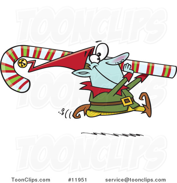 Cartoon Christmas Elf Carrying a Candy Cane