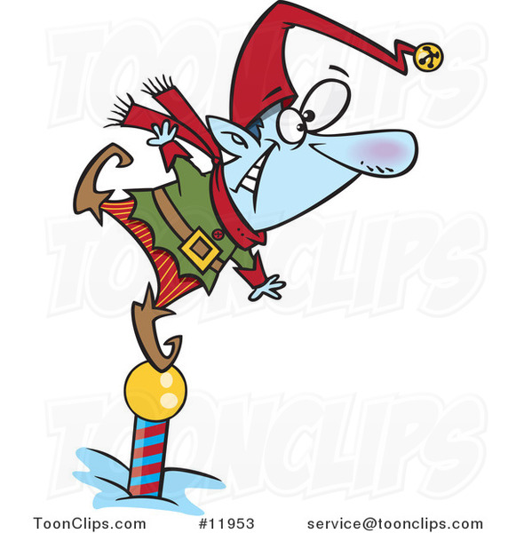 Cartoon Christmas Elf Standing on a Pole and Keeping a Look out