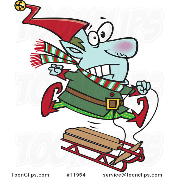 Cartoon Christmas Elf Losing Control of a Sled