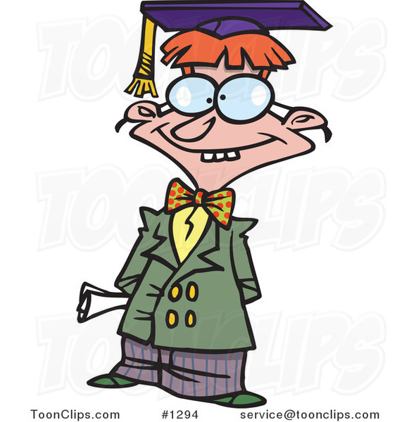 Cartoon Teen Boy Graduate Posing