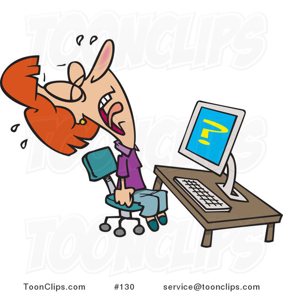 Cartoon Lady Screaming and Crying in Frustration While Getting Computer Errors