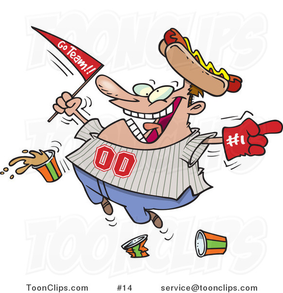 Cartoon Baseball Fan with a Hot Dog Hat, Flag, Hand and Drinks