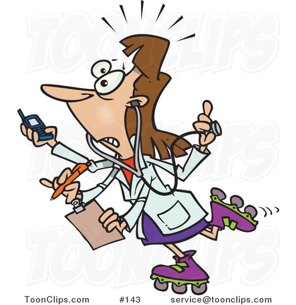 Cartoon Female Doctor with 4 Arms Multi Tasking