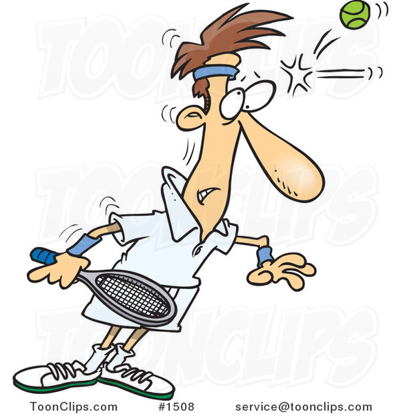 Cartoon Tennis Player Being Smacked on the Forehead with a Ball