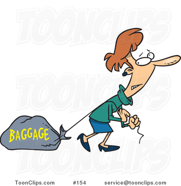 Cartoon Lady Pulling A Heavy Bag 154 By Ron Leishman