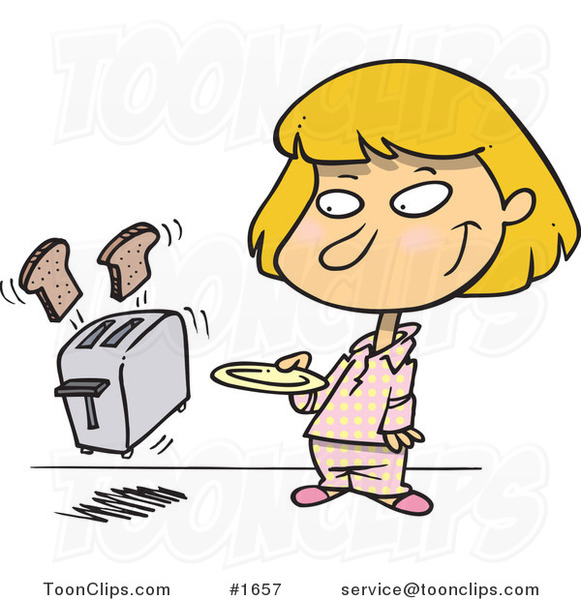 Cartoon Girl Holding A Plate For Her Toast Popping Out Of