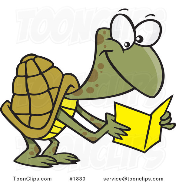 Cartoon Tortoise Reading a Greeting Card