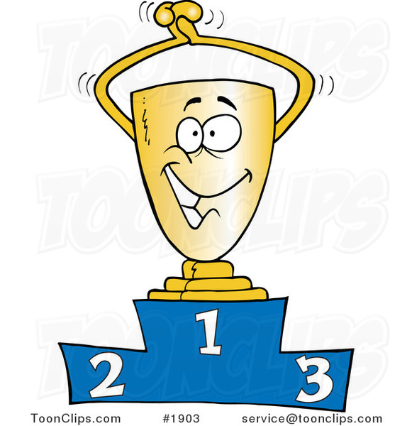 Cartoon Trophy on the First Place Podium #1903 by Ron Leishman