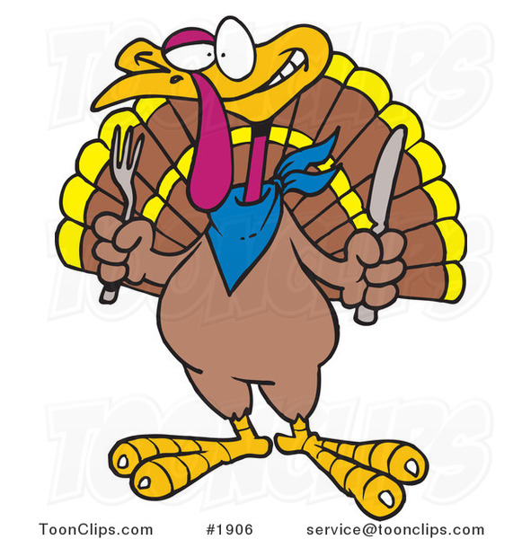 Cartoon Turkey Bird Holding a Knife and Fork