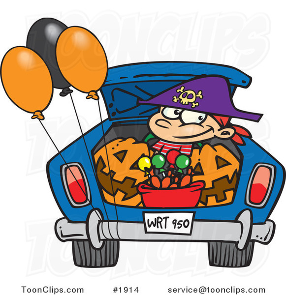 Cartoon Trick or Treating Boy in the Trunk of a Car