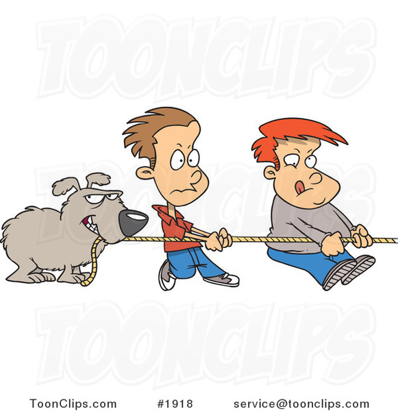 Cartoon Dog and Boys Tugging on a Rope