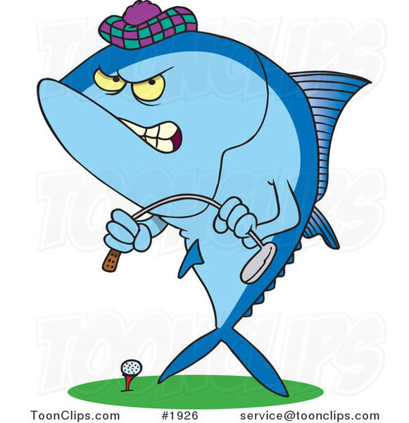 Cartoon Mad Tuna Fish Playing Golf