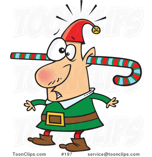 Cartoon Confused Elf Walking Around with a Colorful Striped Candy Cane Going Through One Ear and out the Other