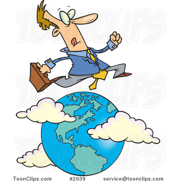 Cartoon Traveling Salesman Leaping over the Globe #2039 by ...