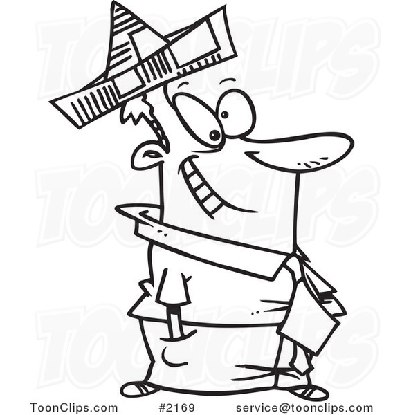 Line Drawing Newspaper : Cartoon black and white line drawing of a business man