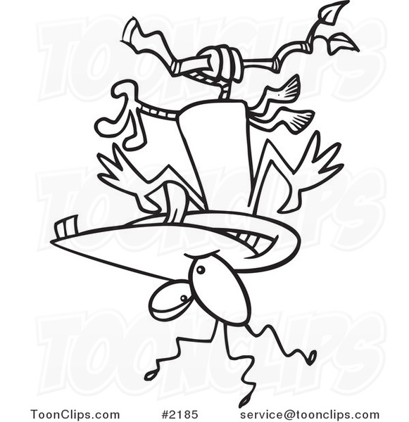 Upside Down Contour Line Drawing : Cartoon black and white line drawing of a nutty bird