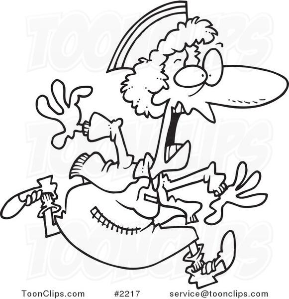 Line Drawing Nurse : Cartoon black and white line drawing of a crazy nurse
