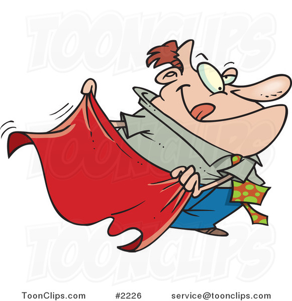 Cartoon business man teasing with a red cape 2226 by ron leishman