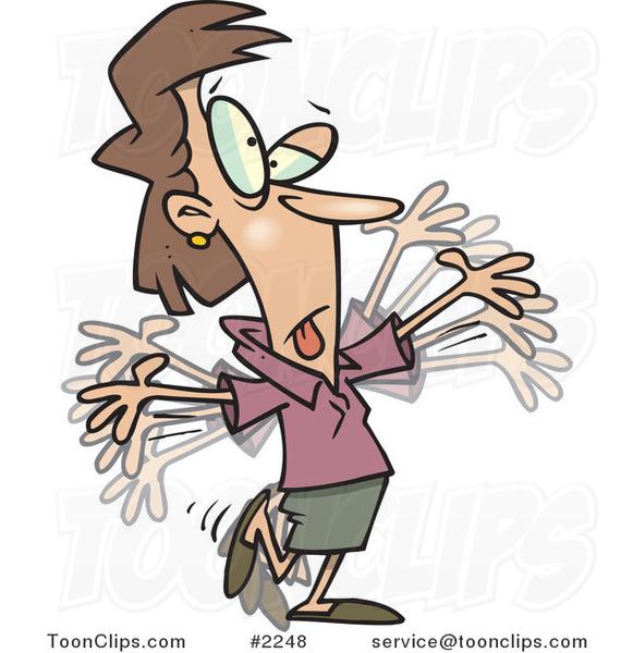 Cartoon Business Woman Doing Calisthenics 2248 By Ron Leishman