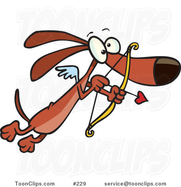 Cartoon Cute Brown Cupid Dog with Tiny Wings, Flying with a Heart Arrow Aimed