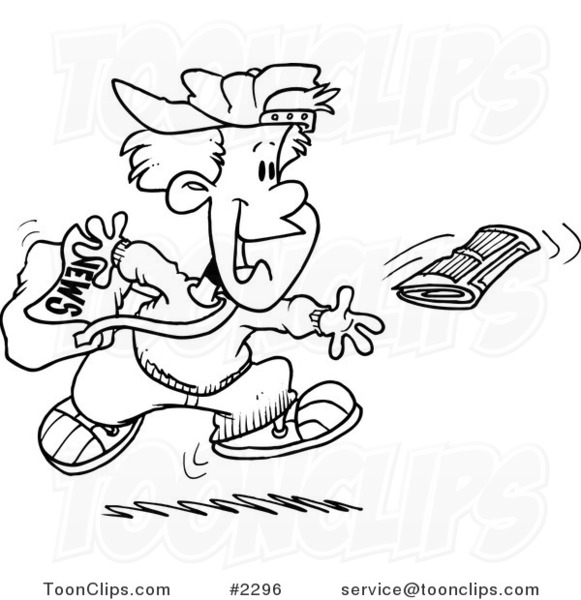Line Drawing Newspaper : Cartoon black and white line drawing of a boy tossing