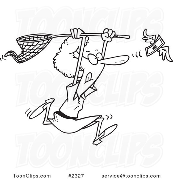 Line Drawing Money : Cartoon black and white line drawing of a lady chasing