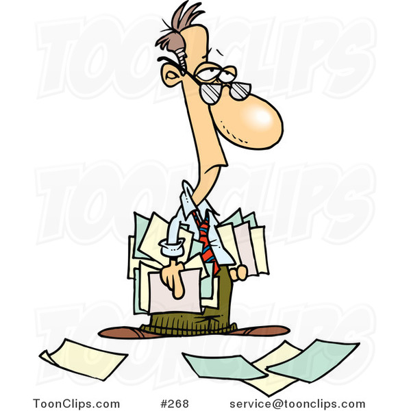 Depressed Cartoon Business Man Carrying And Dropping Documents 268 By Ron Leishman