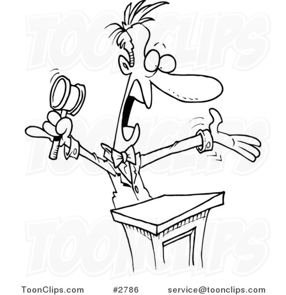 Cartoon Black and White Line Drawing of a Loud Auctioneer #2786 by Ron Leishman