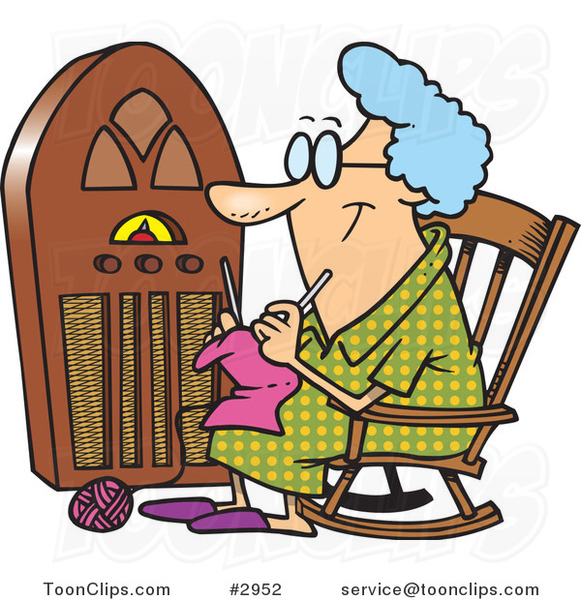 Knitting Granny Clipart : Cartoon granny knitting by a radio ron leishman