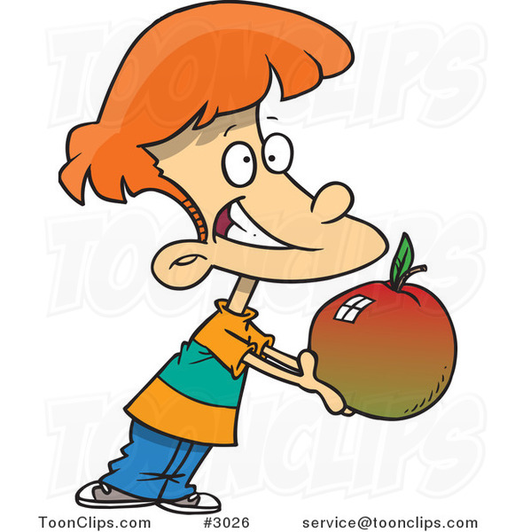 Cartoon School Boy Holding out a Large Apple