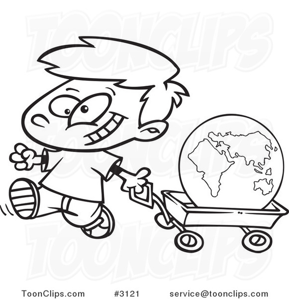 Black White An D Tractor Pulling Wagon : Cartoon black and white line drawing of a happy boy