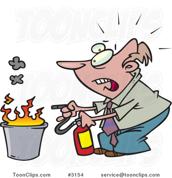 Cartoon Business Man Putting out a Fire