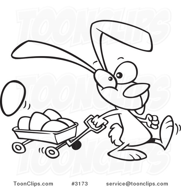 Line Art Easter Bunny : Cartoon black and white line drawing of a bunny pulling