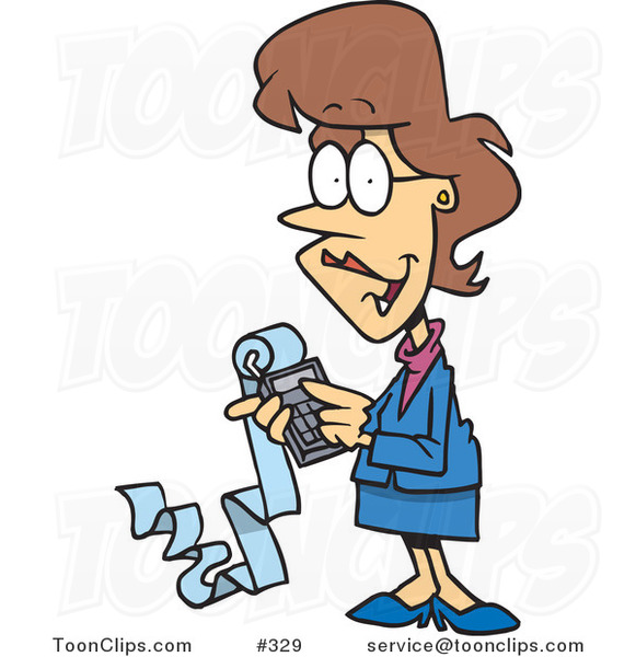 Female cartoon accountant holding a calculator with a long strip of