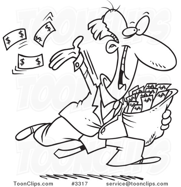 Line Drawing Money : Cartoon black and white line drawing of a charitable rich