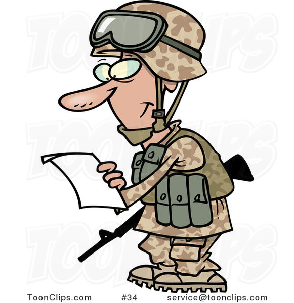 Cartoon marine soldier guy in a camouflage uniform and helmet reading
