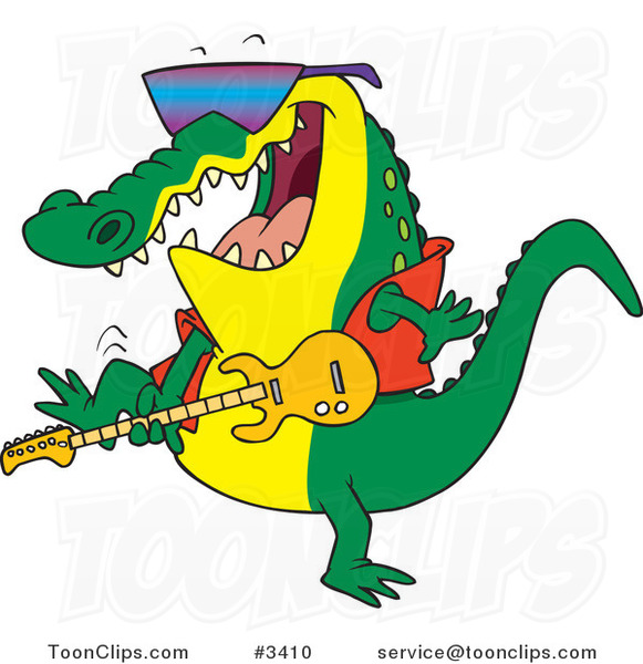 Cartoon Gator Guitarist 3410 By Ron Leishman
