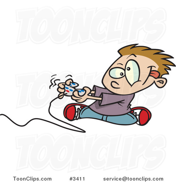 Cartoon Boy Playing a Video Game with a Controller