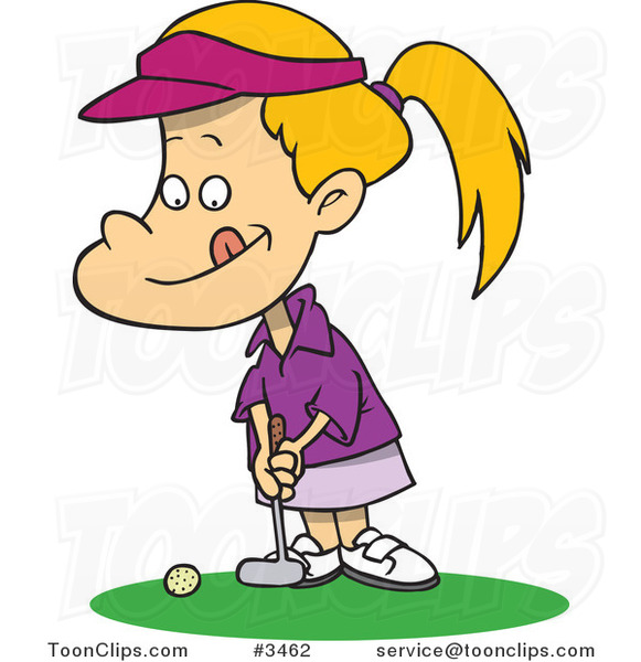 Cartoon Little Girl Golfing