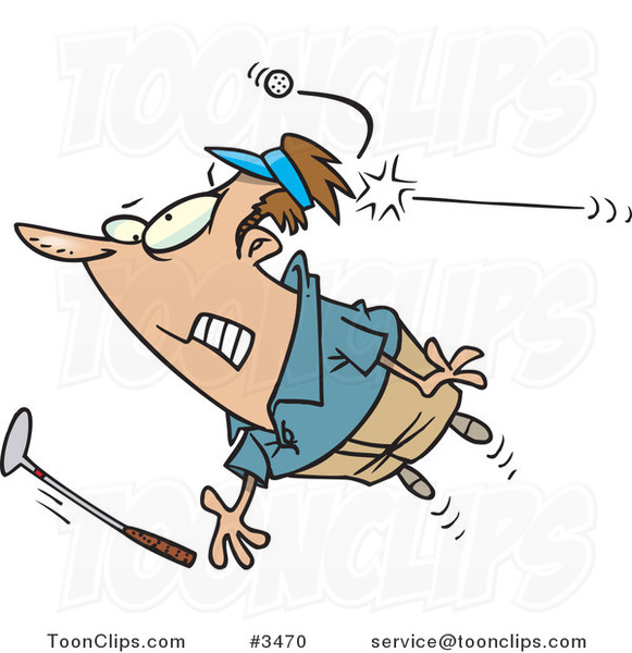 Cartoon Golfer Getting Hit with a Ball