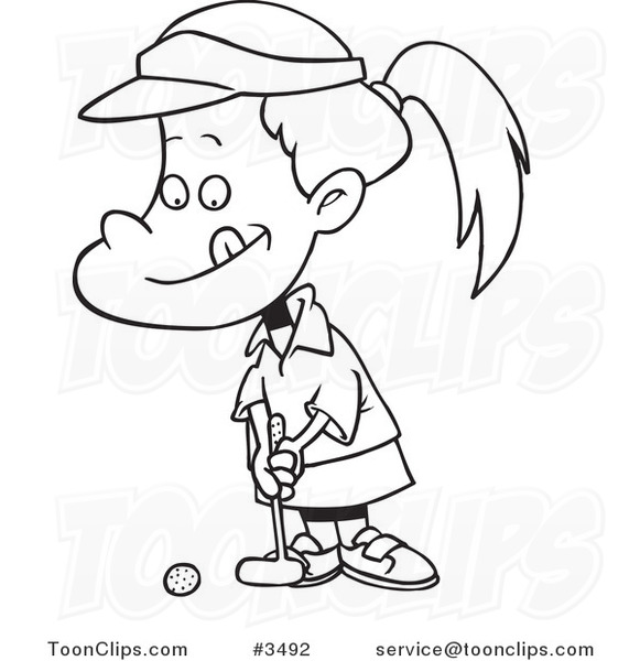 Line Drawing Little Girl : Cartoon black and white line drawing of a little girl