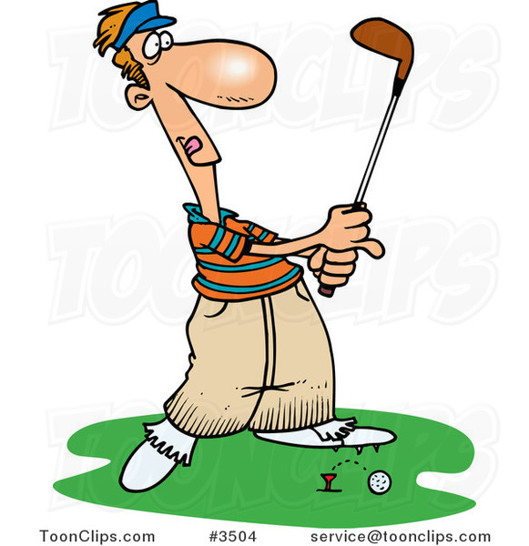 Cartoon Golfer Barely Knocking the Ball off the Tee