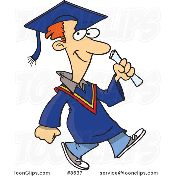 Cartoon Graduate Guy Walking