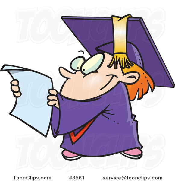 Cartoon Graduate Kid Reading a Certificate