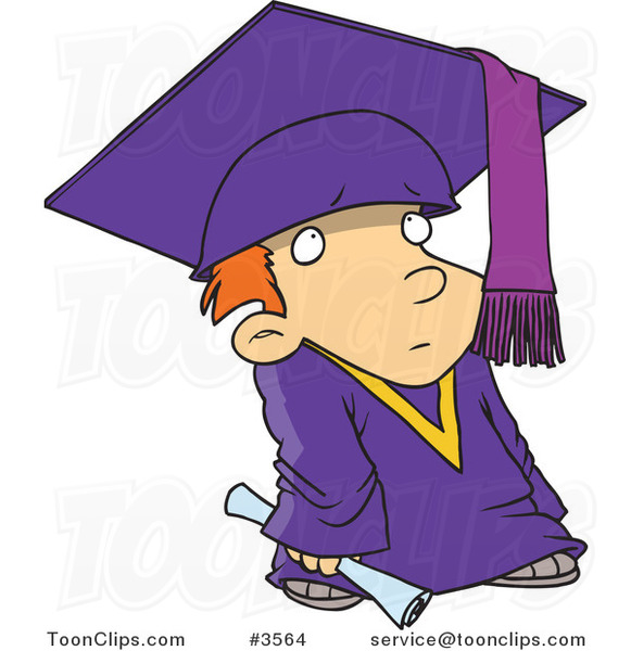 Cartoon Shy Graduate Boy